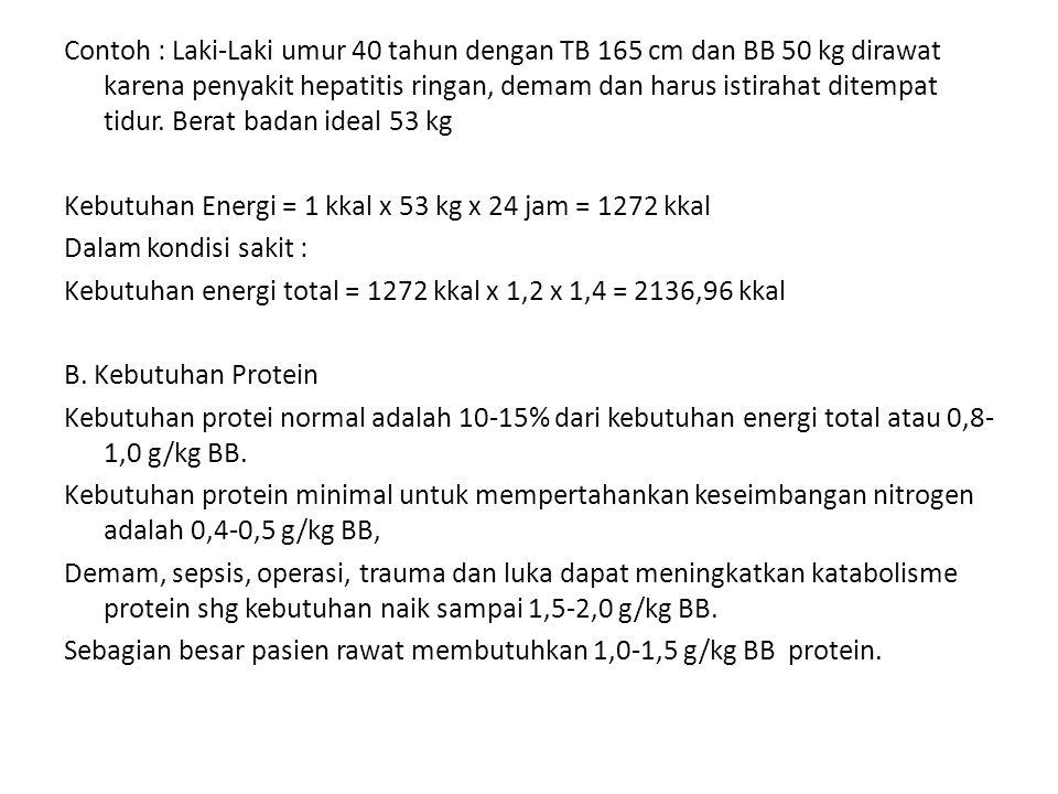 Contoh : Laki-Laki umur 40 tahun dengan TB 165 cm dan BB 50 kg dirawat karena penyakit hepatitis ringan, demam dan harus istirahat ditempat tidur.