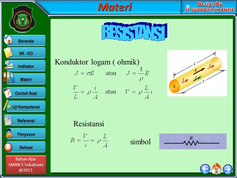 Materi RESISTANSI Konduktor logam ( ohmik) Resistansi simbol
