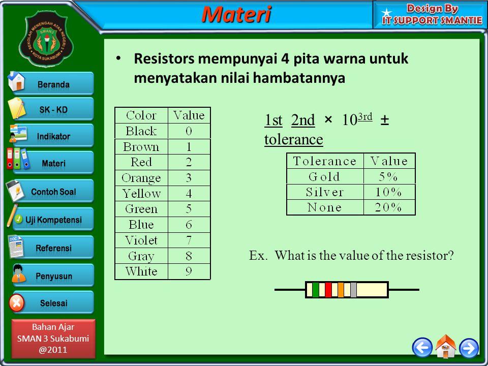 Materi Resistors mempunyai 4 pita warna untuk menyatakan nilai hambatannya. 1st 2nd × 103rd ± tolerance.