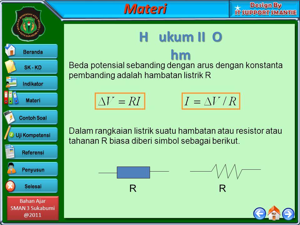 Materi H ukum II O hm. Beda potensial sebanding dengan arus dengan konstanta pembanding adalah hambatan listrik R.