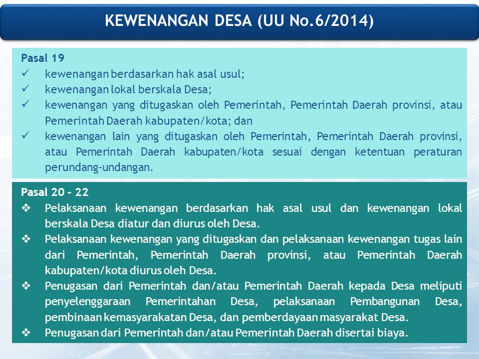 KEWENANGAN DESA (UU No.6/2014)