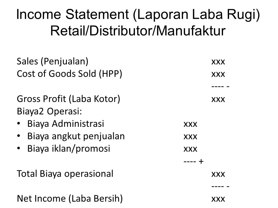 Income Statement (Laporan Laba Rugi) Retail/Distributor/Manufaktur