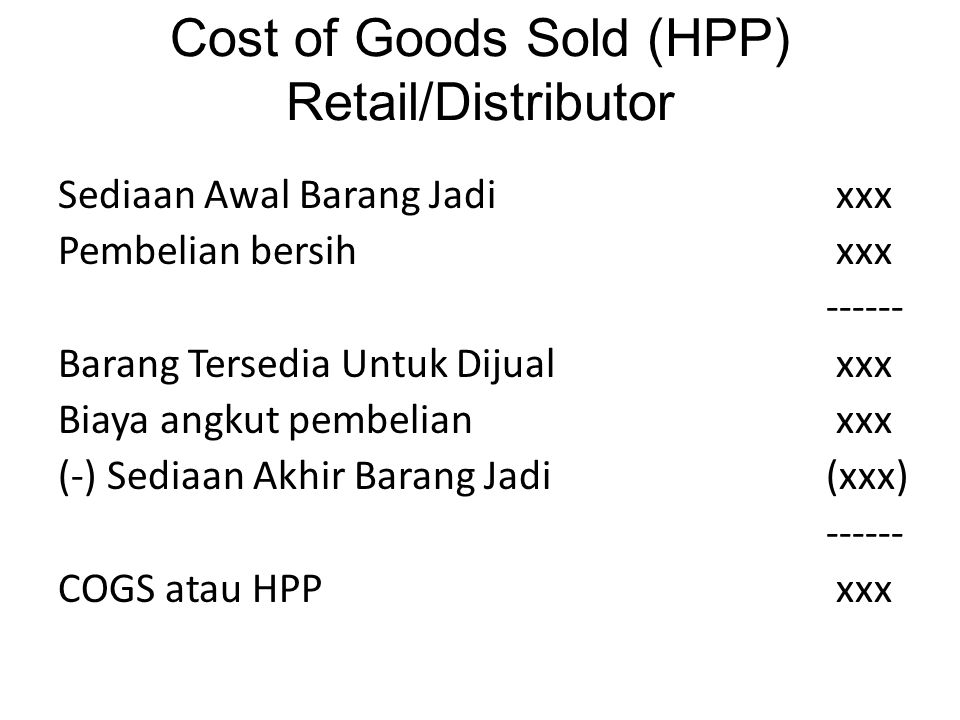 Cost of Goods Sold (HPP) Retail/Distributor
