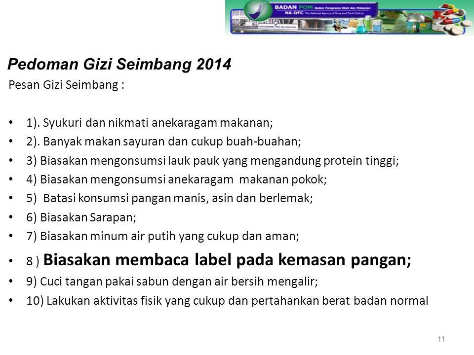 Pedoman Gizi Seimbang 2014 Pesan Gizi Seimbang :