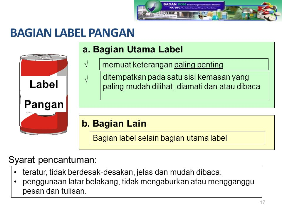 BAGIAN LABEL PANGAN Label Pangan a. Bagian Utama Label b. Bagian Lain