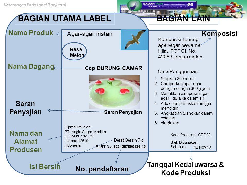 Nama dan Alamat Produsen Tanggal Kedaluwarsa & Kode Produksi