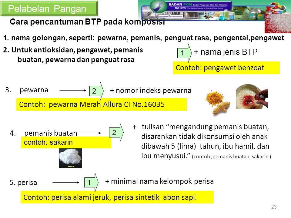 Pelabelan Pangan Cara pencantuman BTP pada komposisi