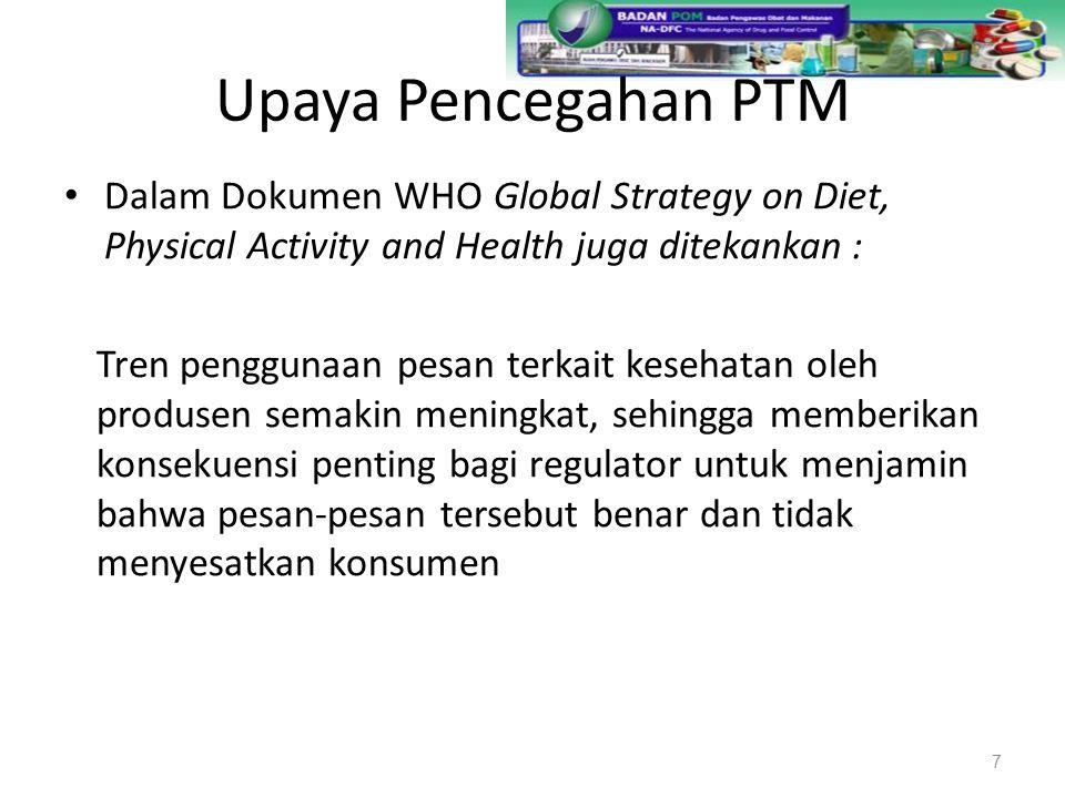 Upaya Pencegahan PTM Dalam Dokumen WHO Global Strategy on Diet, Physical Activity and Health juga ditekankan :