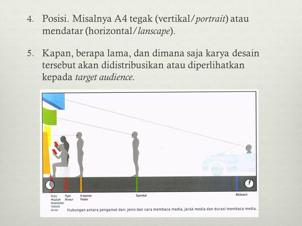 Posisi. Misalnya A4 tegak (vertikal/portrait) atau mendatar (horizontal/lanscape).