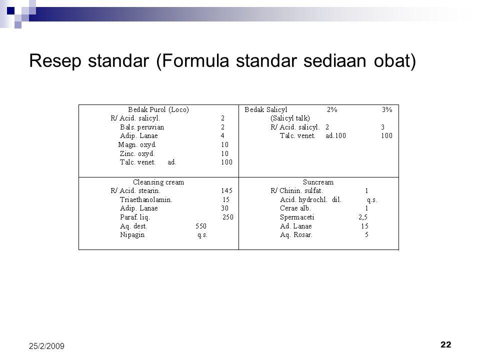 Resep standar (Formula standar sediaan obat)