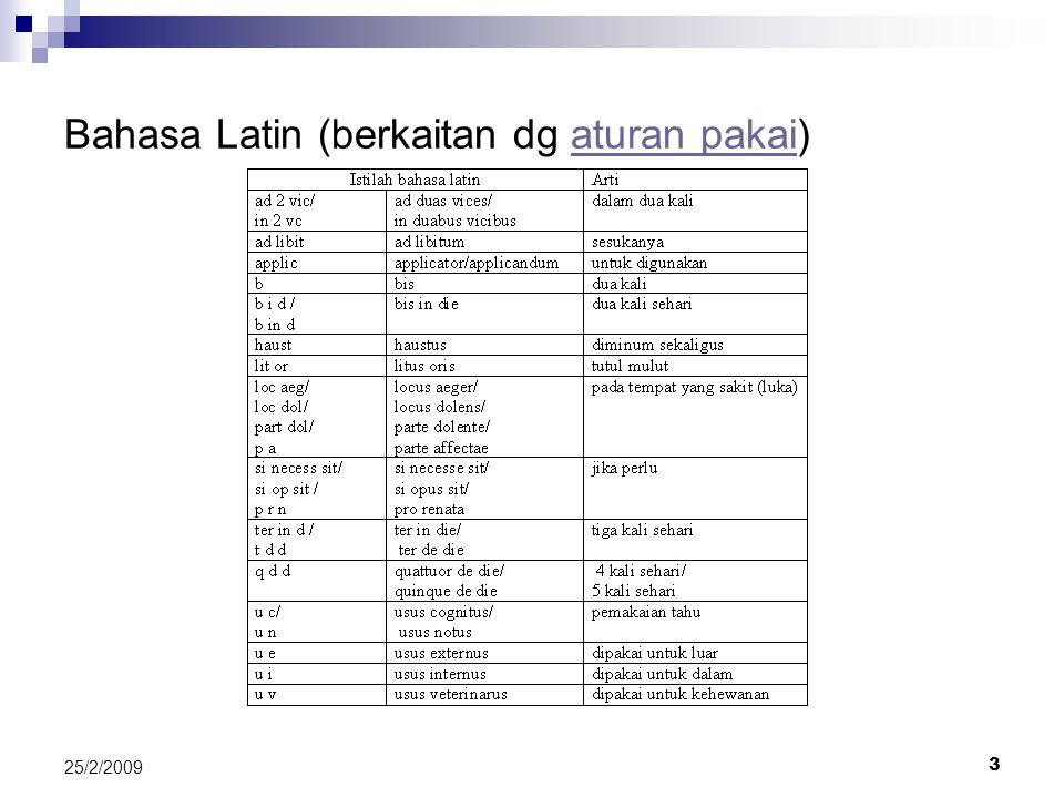 Bahasa Latin (berkaitan dg aturan pakai)