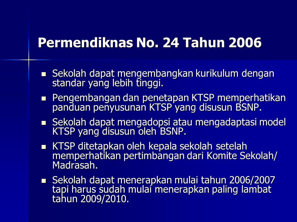 Permendiknas No. 24 Tahun 2006 Sekolah dapat mengembangkan kurikulum dengan standar yang lebih tinggi.