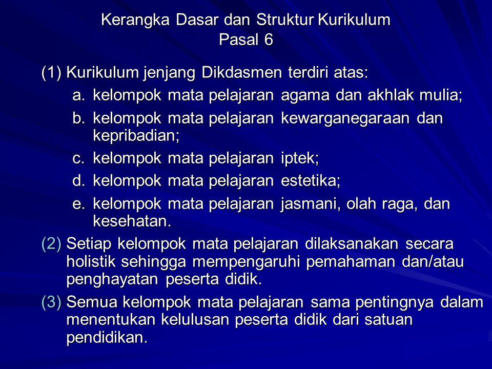 Kerangka Dasar dan Struktur Kurikulum Pasal 6
