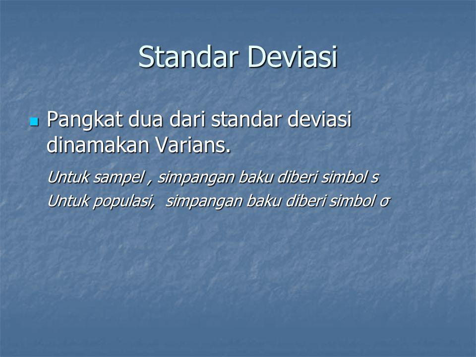 Standar Deviasi Pangkat dua dari standar deviasi dinamakan Varians.