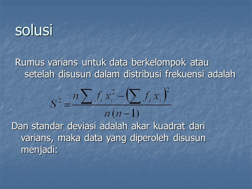 solusi Rumus varians untuk data berkelompok atau setelah disusun dalam distribusi frekuensi adalah.