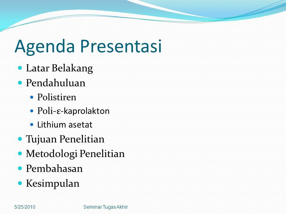 Agenda Presentasi Latar Belakang Pendahuluan Tujuan Penelitian