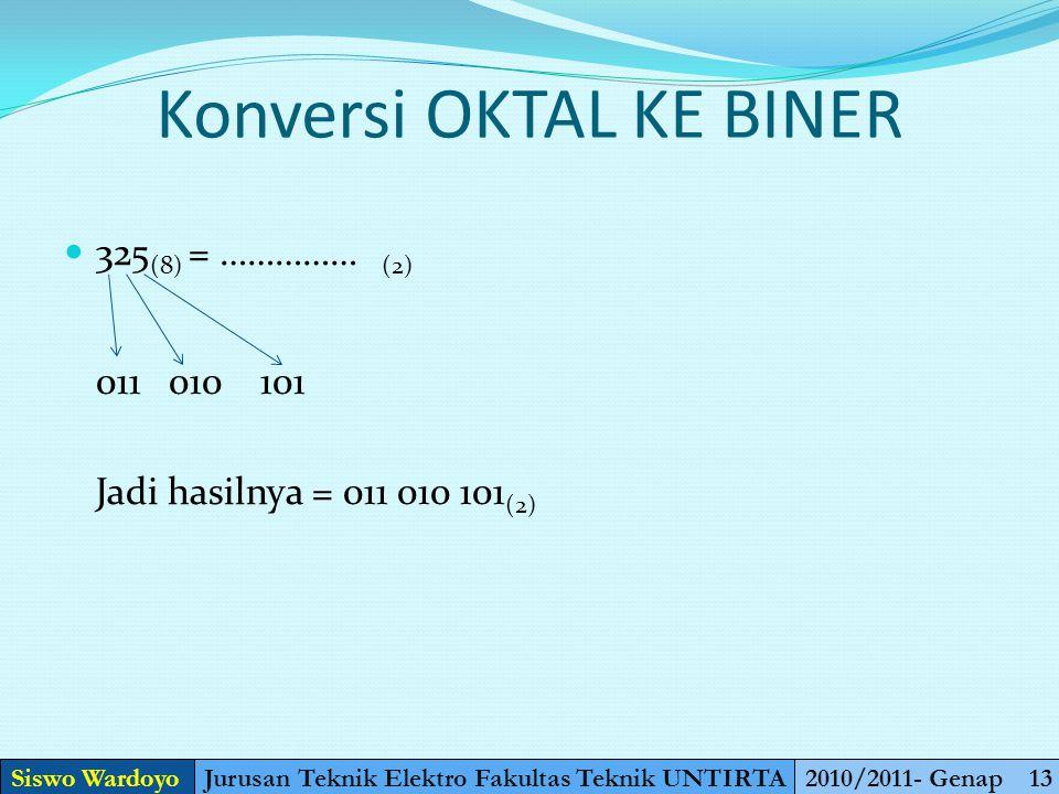 Konversi OKTAL KE BINER