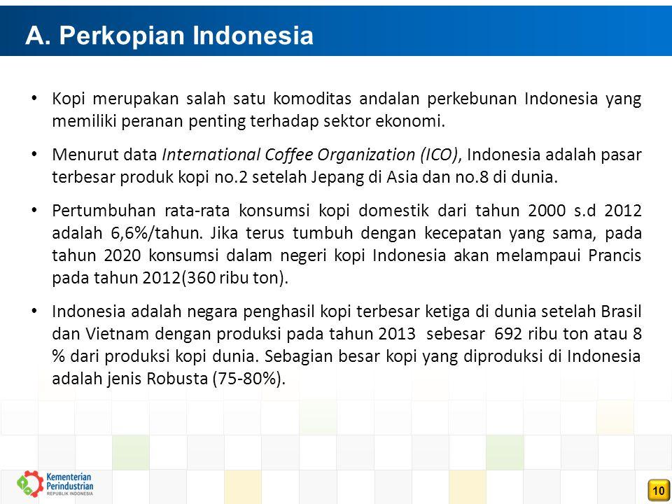 A. Perkopian Indonesia Kopi merupakan salah satu komoditas andalan perkebunan Indonesia yang memiliki peranan penting terhadap sektor ekonomi.