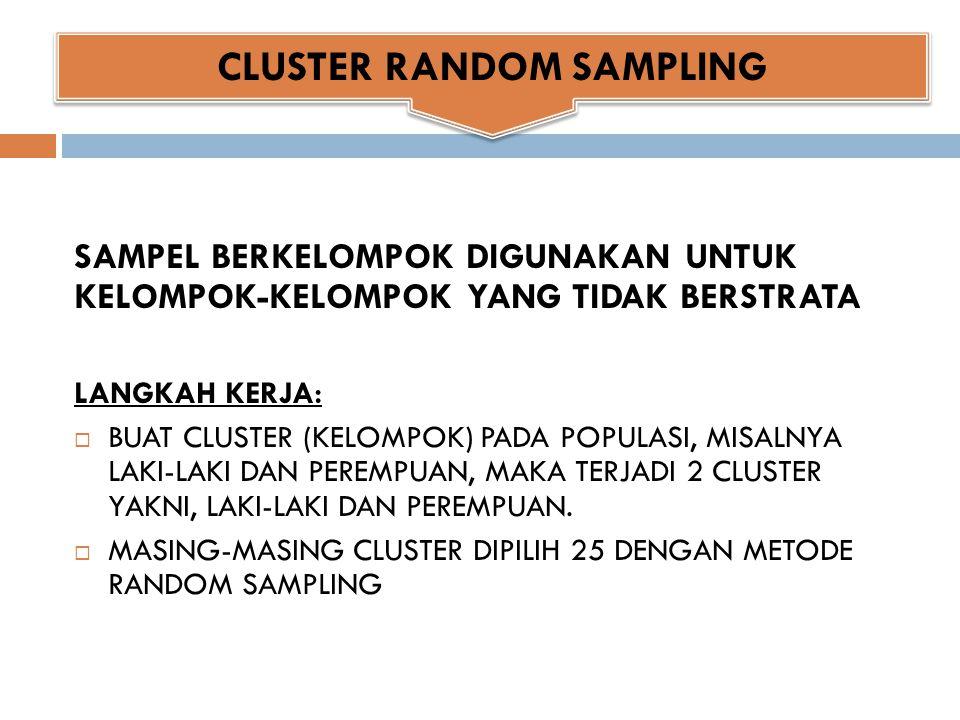 CLUSTER RANDOM SAMPLING