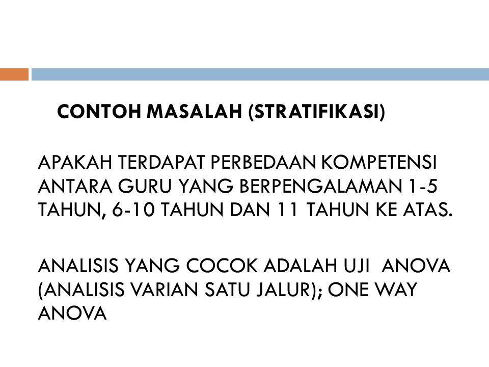 CONTOH MASALAH (STRATIFIKASI) APAKAH TERDAPAT PERBEDAAN KOMPETENSI ANTARA GURU YANG BERPENGALAMAN 1-5 TAHUN, 6-10 TAHUN DAN 11 TAHUN KE ATAS.
