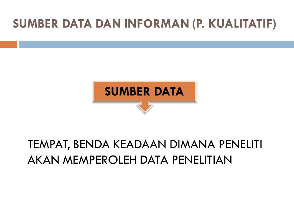 SUMBER DATA DAN INFORMAN (P. KUALITATIF)