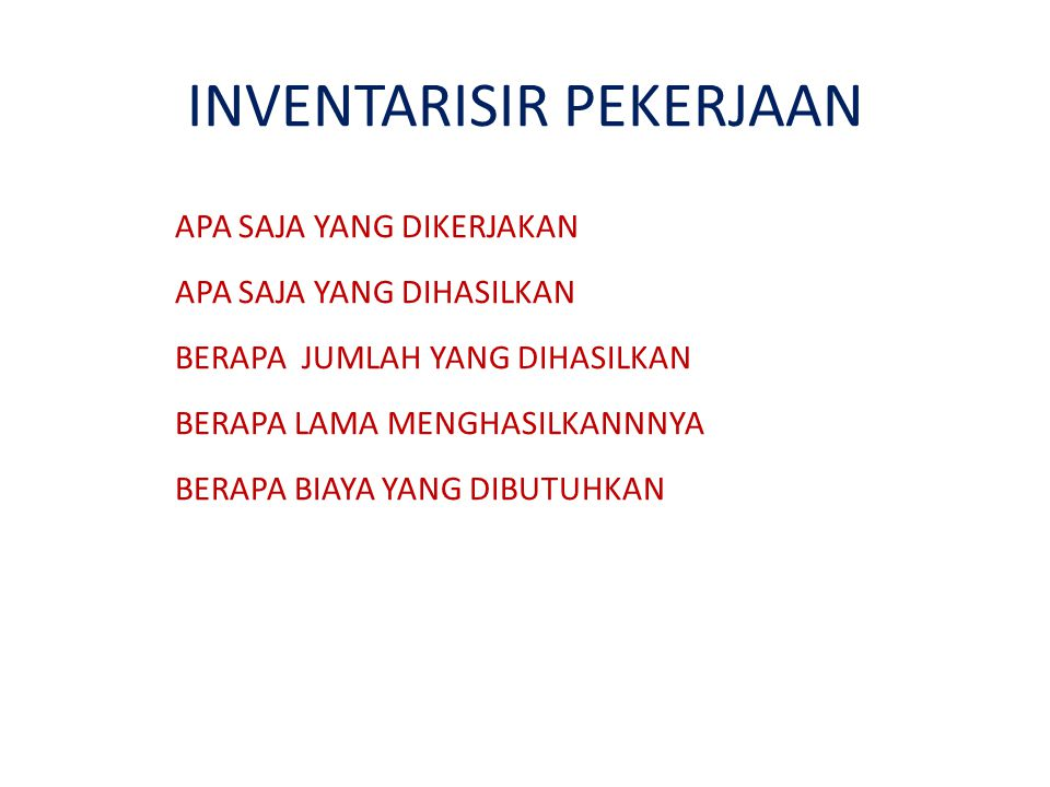 INVENTARISIR PEKERJAAN