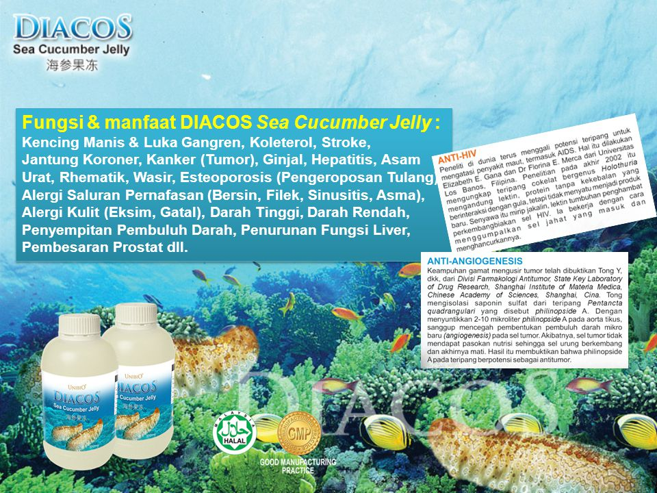 Fungsi & manfaat DIACOS Sea Cucumber Jelly :