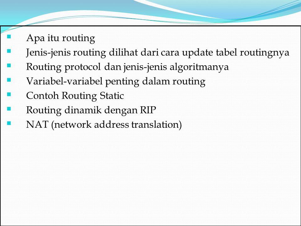 Apa itu routing Jenis-jenis routing dilihat dari cara update tabel routingnya. Routing protocol dan jenis-jenis algoritmanya.