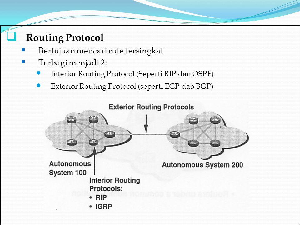 Routing Protocol Bertujuan mencari rute tersingkat Terbagi menjadi 2: