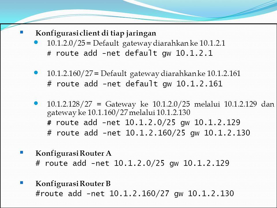 Konfigurasi client di tiap jaringan