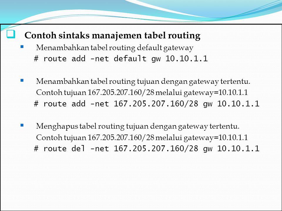 Contoh sintaks manajemen tabel routing