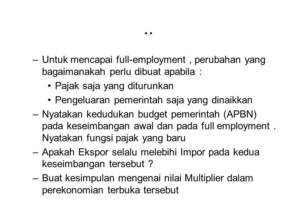 .. Untuk mencapai full-employment , perubahan yang bagaimanakah perlu dibuat apabila : Pajak saja yang diturunkan.