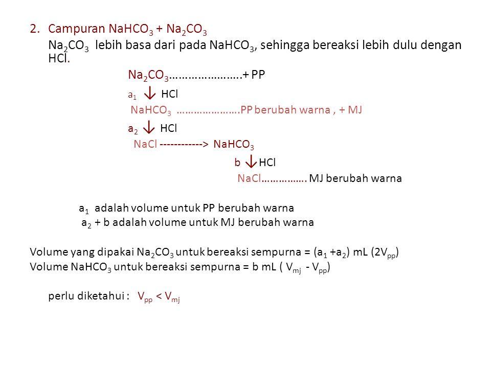 2. Campuran NaHCO3 + Na2CO3 Na2CO3 lebih basa dari pada NaHCO3, sehingga bereaksi lebih dulu dengan HCl.