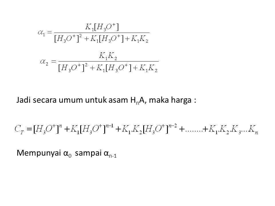 Jadi secara umum untuk asam HnA, maka harga : Mempunyai α0 sampai αn-1