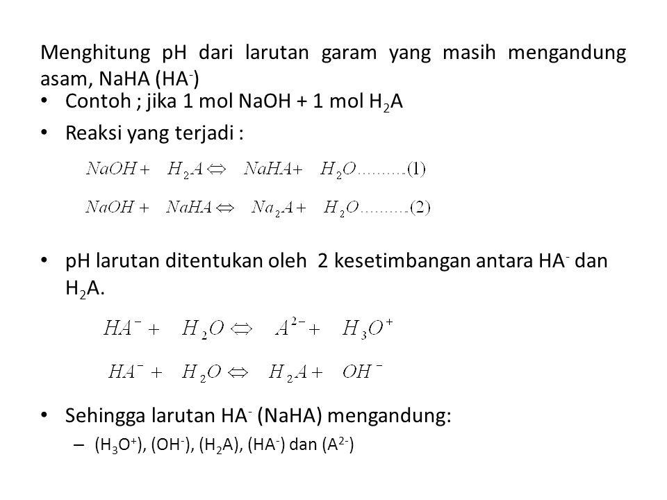 Contoh ; jika 1 mol NaOH + 1 mol H2A Reaksi yang terjadi :