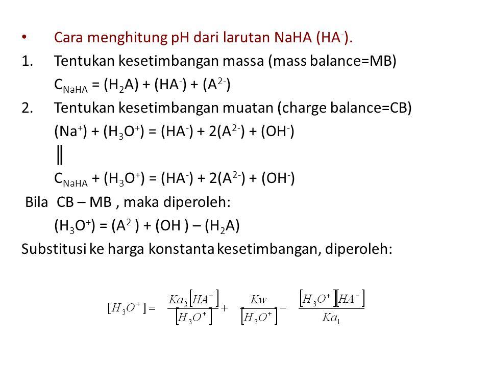 Cara menghitung pH dari larutan NaHA (HA-).