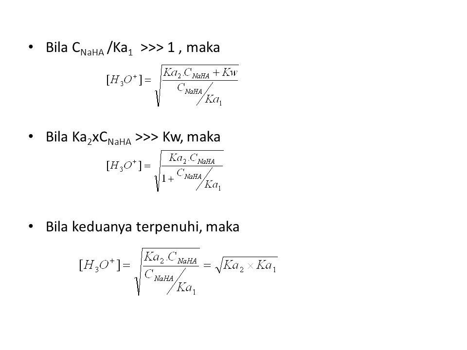 Bila CNaHA /Ka1 >>> 1 , maka