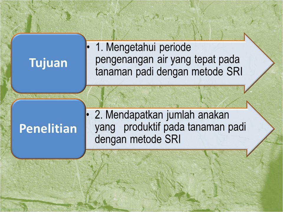 Tujuan 1. Mengetahui periode pengenangan air yang tepat pada tanaman padi dengan metode SRI. Penelitian.