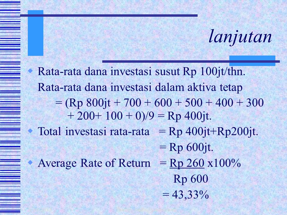 lanjutan Rata-rata dana investasi susut Rp 100jt/thn.