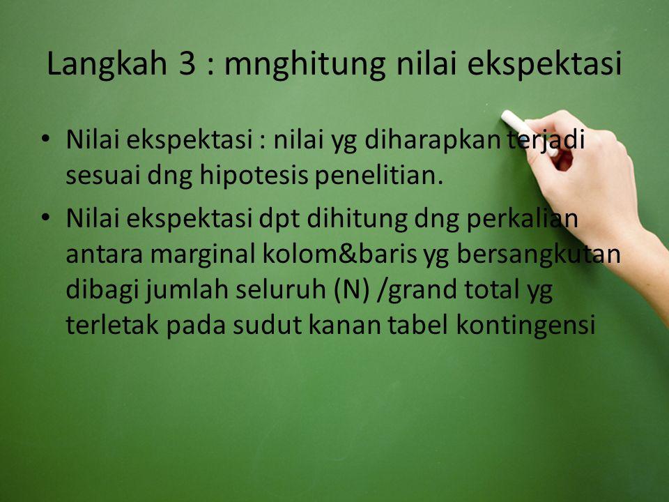Langkah 3 : mnghitung nilai ekspektasi