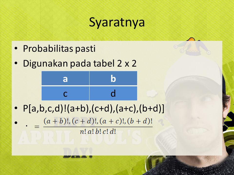 Syaratnya Probabilitas pasti Digunakan pada tabel 2 x 2