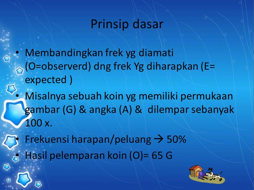 Prinsip dasar Membandingkan frek yg diamati (O=observerd) dng frek Yg diharapkan (E= expected )