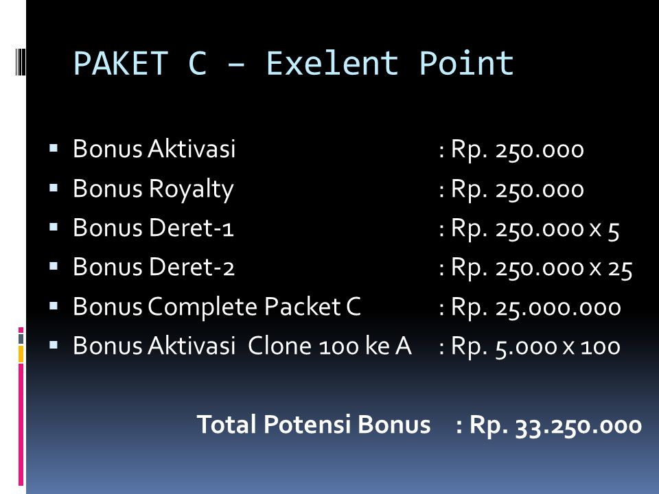 PAKET C – Exelent Point Bonus Aktivasi : Rp. 250.000