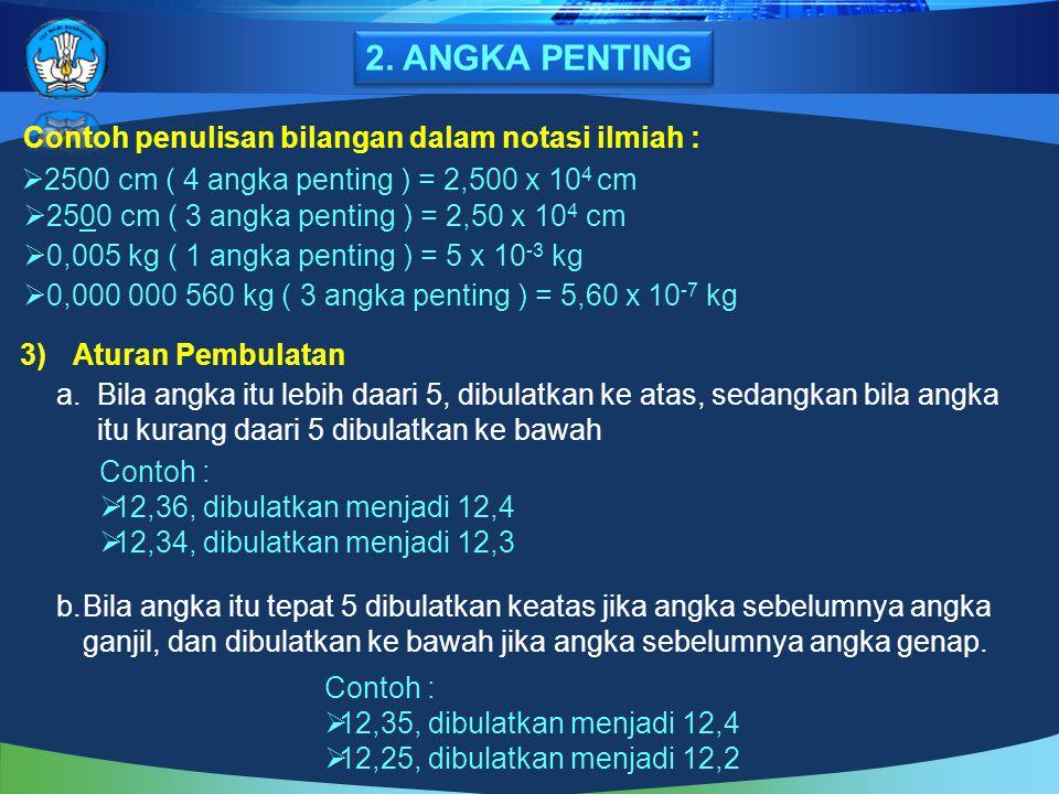 2. ANGKA PENTING Contoh penulisan bilangan dalam notasi ilmiah :