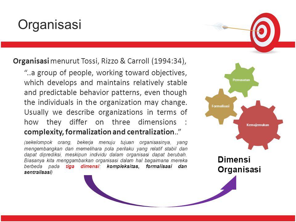 Organisasi Organisasi menurut Tossi, Rizzo & Carroll (1994:34),