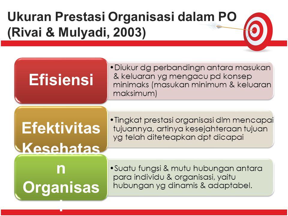 Ukuran Prestasi Organisasi dalam PO (Rivai & Mulyadi, 2003)