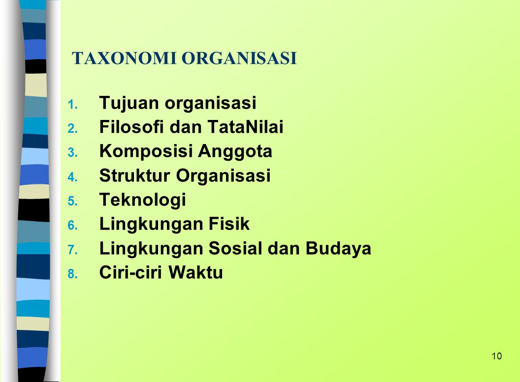 TAXONOMI ORGANISASI Tujuan organisasi. Filosofi dan TataNilai. Komposisi Anggota. Struktur Organisasi.