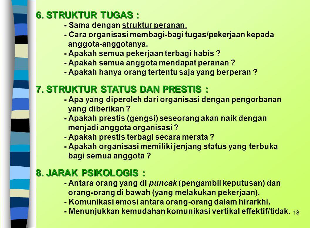7. STRUKTUR STATUS DAN PRESTIS :