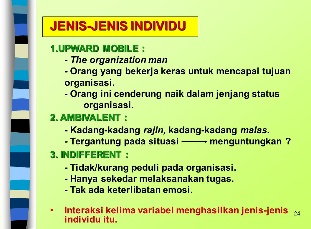 JENIS-JENIS INDIVIDU 1.UPWARD MOBILE :