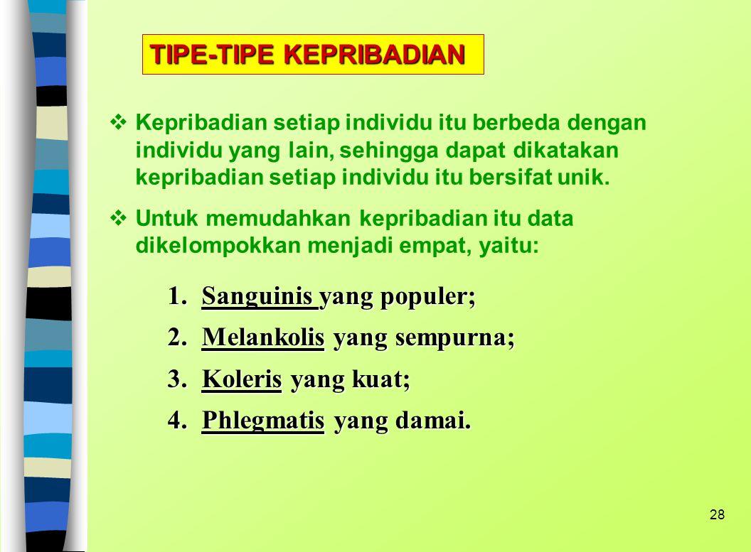 TIPE-TIPE KEPRIBADIAN